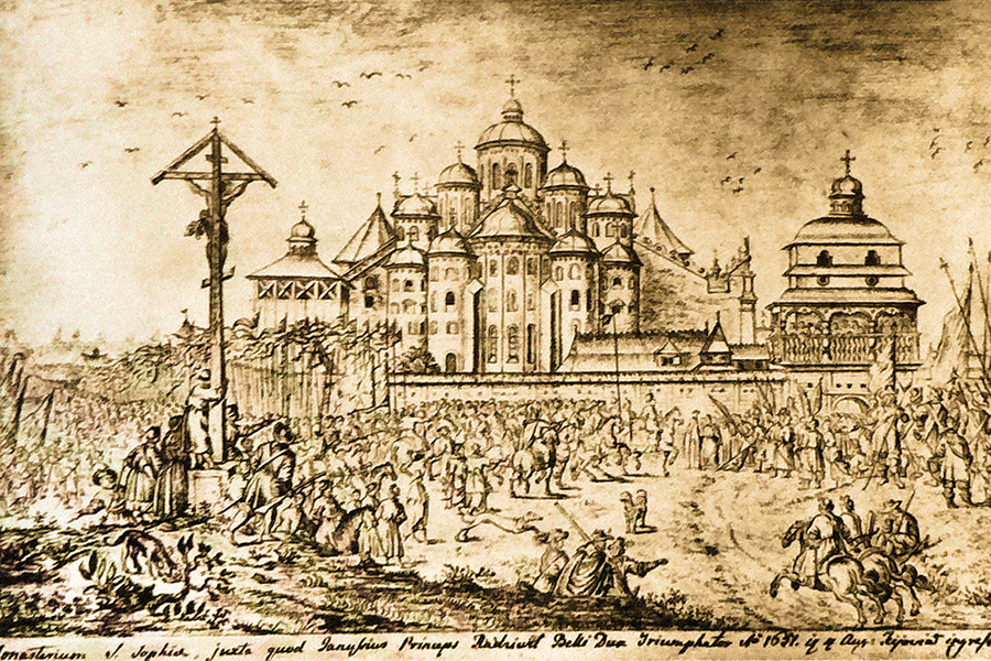 Saint_Sophia_Cathedral_in_Kiev_in_1651_by_Abraham_Evertsz._van_Westerveld